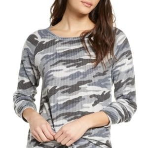 BP Nordstrom Gray Camouflage Waffle Thermal TOP